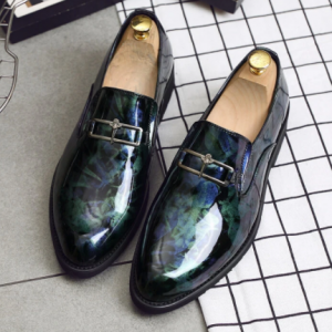 Men Casual Metal Decoration Printing Pattern Pointed Toe Business Shoes discountshub