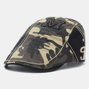Men Cotton Patchwork Letter Pattern Embroidery M Cloth Label Casual Camouflage Berets discountshub