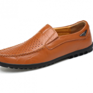 Men Hole Leather Slip On Soft Sole Casual Driving Shoes discountshub