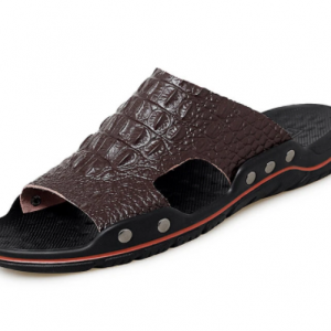 Men PU Leather Alligator Veins Hard Wearing Slides Slippers discountshub