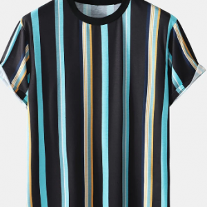 Mens Colored Stripe Print Crew Neck Preppy Short Sleeve T-Shirts discountshub