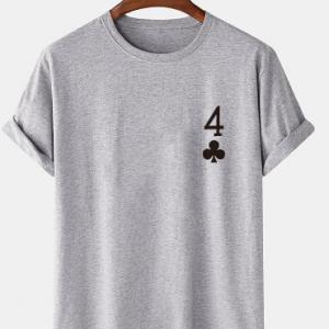 Mens Poker Plum Blossom 4 Print 100% Cotton Short Sleeve T-Shirts discountshub