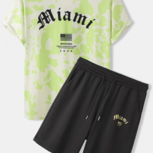 Mens Street Letter Print Crew Neck Two Pieces Outfits With Drawstring Shorts discountshub