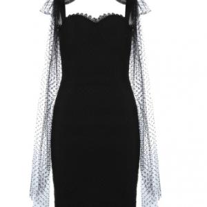 New Women Bandage Dress Summer Autumn Bodycon Dress Party Club Mini Mesh Black Elegant Ladies Clothes discountshub