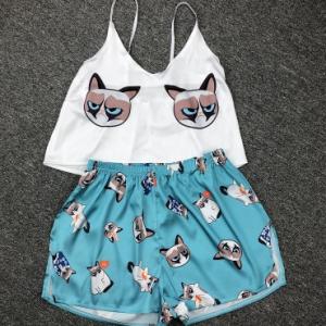QWEEK Flamingo Pajamas for Woman Silk Sexy Pijamas Satin Pyjama Femme Fox Print V Neck Home Suit Sleepwear Dropshipping discountshub