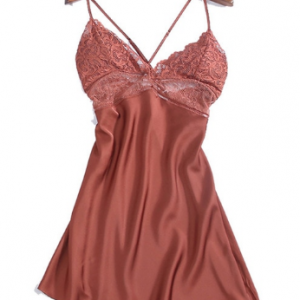 Summer Sexy Night Dress Lace Nightgow Women's New Lingerie backless Lace V-neck nightwear silk Nightdress Homewear discountshub