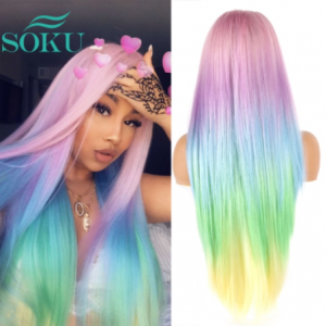 Synthetic Lace Wig Ombre Pink Blue Wigs Colorful SOKU Long Free Part Wigs For Black Women Straight/Wavy Rainbow Cosplay Lace Wig discountshub