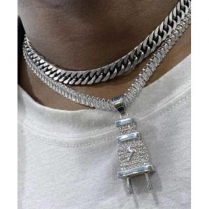 Tennis And Cuban Choker With Iced Out Plug Pendant discountshub