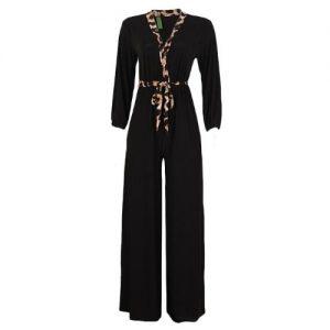 Trendy Palazzo Jumpsuit With Animal Print Details - Black discountshub