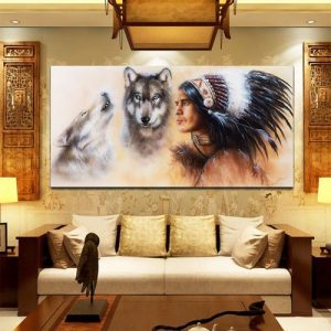 """31.5""""x15.7"""" Unframed Canvas Indian Man Wolf Wall Art Painting Picture Home Decor discountshub"""