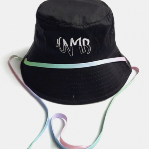 Unisex Cotton Solid Letter Embroidery With Colorful Decorative Adjustment Rope Sunshade Bucket Hat discountshub