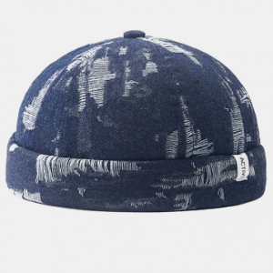 Unisex Denim Solid Color Ripped Hole Made-old Fashion Brimless Beanie Landlord Cap Skull Cap discountshub