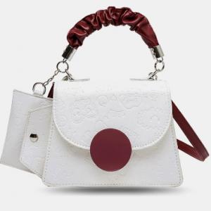 Women White Black PU Leather Embossed Card Key Wallet Handbag Crossbody Bag Satchel Bag discountshub