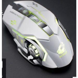 X8 Gaming Silent Led Backlit Ergonomic Rechargeable Silent Mouse- White discountshub