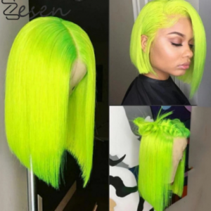 Zesen 13*4 Synthetic Lace Front Wig Straight Hair Bob Wigs Ombre Color and Green Color Lace Frontal Cosplay Short Wigs For Women discountshub