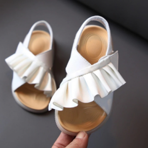 2021 New Summer Children's Sandals Leather Ruffles Toddler Kids Shoes Cute Baby Shoes Soft Fashion Princess Girls Sandals 21-30 discountshub