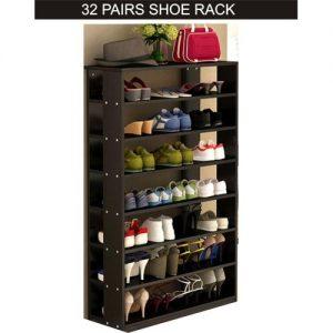 32 PAIRS Wooden Shoe Rack - BLACK discountshub