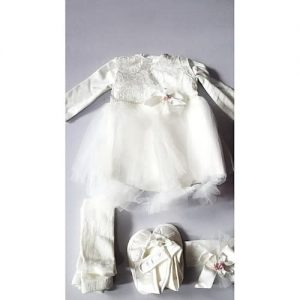 4 Piece Beautiful Ivory Baby Girl's Boxed Christening Clothes discountshub