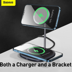 Baseus Magnetic Wireless Charger For iPhone 12 Pro Max Desktop Phone Stand Wireless Charger For Airpods Xiaomi Samsung discountshub