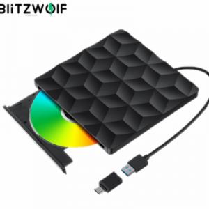 BlitzWolf BW-VD1 USB3.0 Type-C External Burner DVD Player Optical Drive 5Gbps Fast Transmission for Macbook PC Laptop Desktop discountshub