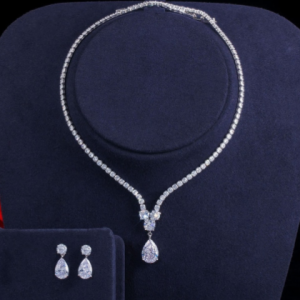 CWWZircons Fashion Cubic Zirconia Water Drop Pendant Necklace and Earrings Bridal Wedding Jewelry Sets for Brides Party T397 discountshub