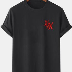 Camisetas masculinas X Graffiti com estampa de peito casual de manga curta 100% algodão discountshub
