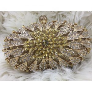 Crystal Clutch Purse(Front And Back)-GOLD discountshub