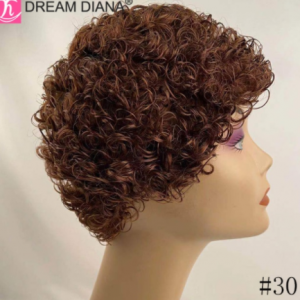 DreamDiana Malaysian Hair Wig Remy Short Natural Curly Glueless Human Wigs Pixie Cut Wig Ombre Short Machine Made Human Hair Wig discountshub