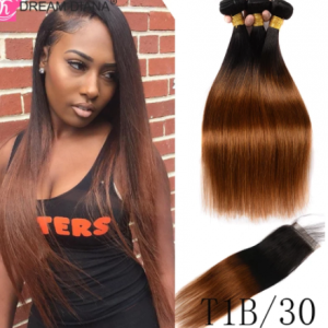 DreamDiana Ombre Malaysian Silky Straight Hair With Closure Ombre Remy Human Hair Bundles With Closure 3 Toned T1B/4/30 T1B/4/27 discountshub
