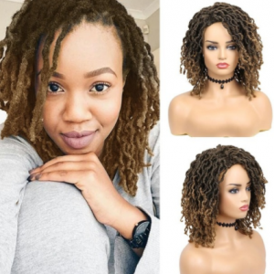 FAVE Dreadlock Curly Wig Short Synthetic Twist Natural Black /1b 30 Ombre Brown For Black Women and Men Afro Curly Hair Party discountshub
