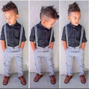 Fashion Front 3pcs Button Down Shirt + Suspender+ Trouser discountshub