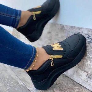 Female M Sneakers- Black discountshub