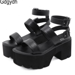 Gdgydh 2021 New Arrival Summer Women Platform Sandals Thick Bottom Ankle Strap Sandals High Heels Open Toe Black Gothic Shoes discountshub