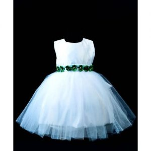 Girls White Tuttle Dress With Touch Of Green - White discountshub
