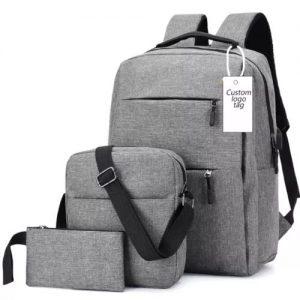High Quality 3 In 1 Set Anti-Theft Backpack Bag - Grey discountshub