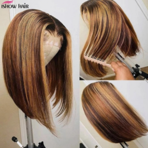 Ishow Highlight Bob Wig Straight Lace Front Human Hair Wigs Short Bob Ombre Human Hair Wig Middle Part Brazilian Remy Lace Wig discountshub