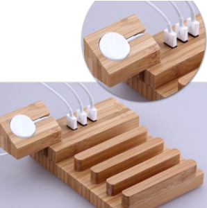 Multi-function Detachable Carbonized Bamboo 3 USB Ports Charging Dock Holders Stand Cradle Bracket, UK Plug, AC 110-220V, For IPhone, IWatch, IPad, Tablets, Samsung, Huawei, Xiaomi , HTC And Other Smart Phones, Rechargeable Devices discountshub