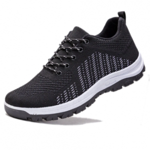 Men Breathable Knitted Fabric Side Stripe Soft Casual Walking Shoes discountsdhub