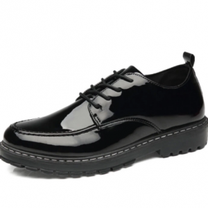 Men Patent Leather Lace-up Round Toe Hard Wearing Casual Business Shoes discountshub