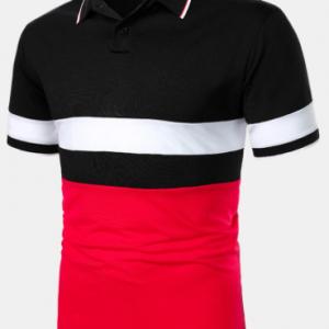 Mens Color Block Patchwork Casual Short Sleeve Golf Shirts discountshub