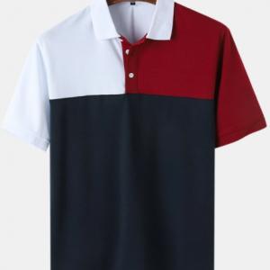 Mens Color Block Splice 100% Cotton Casual Short Sleeve Golf Shirts discountshub