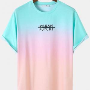 Mens Colorful Ombre Letter Print Curved Hem Loose Short Sleeve T-Shirts discountshub