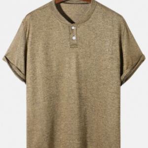 Mens Ribbed Marled Baseball Collar Basics Cotton Short Sleeve T-Shirts discountshub