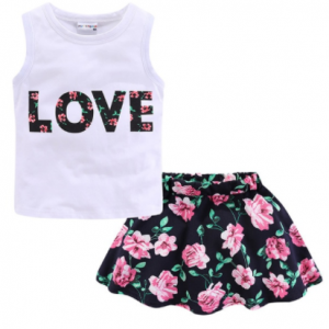 Mudkingdom Summer Girl Clothes Set Easter Chiffon Skirt Outfit LOVE Cute Girls Suits I Love Daddy Mommy Children Clothing discountshub