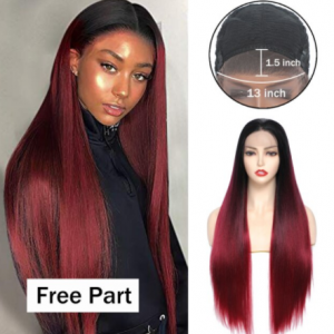 Ombre Red Wig Synthetic Lace Front Wigs for Black Women X-TRESS Long Strsight Natural Looking Free Part Lace Wigs Heat Resistant discountshub