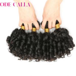Short 6 inches Bouncy Curly Hair Bundles Indian pre-colored virgin Human Hair Extensions Natural Dark Brown Color Code Calla discountshub