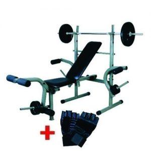 Standard Weight Lifting Bench, With 20Kg Weight Set & GymGlove discountshub