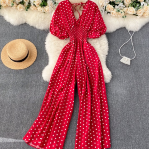 Summer Women Sexy Polka Dot Jumpsuits Romper Thin Ladies Loose Wide Leg Pants Overalls Playsuits Jumpsuits Casual 2021 discountshub