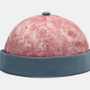 Unisex Cotton Contrast Color Adjustable Sunshade Brimless Beanie Landlord Cap Skull Cap discountshub
