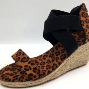 Women Summer Wedges Sandals Leopard Cross Tie Snakeskin Ladies Open Toe Zipper Female Beach Shoes Soft Hemp Bottom Plus Size New discountshub